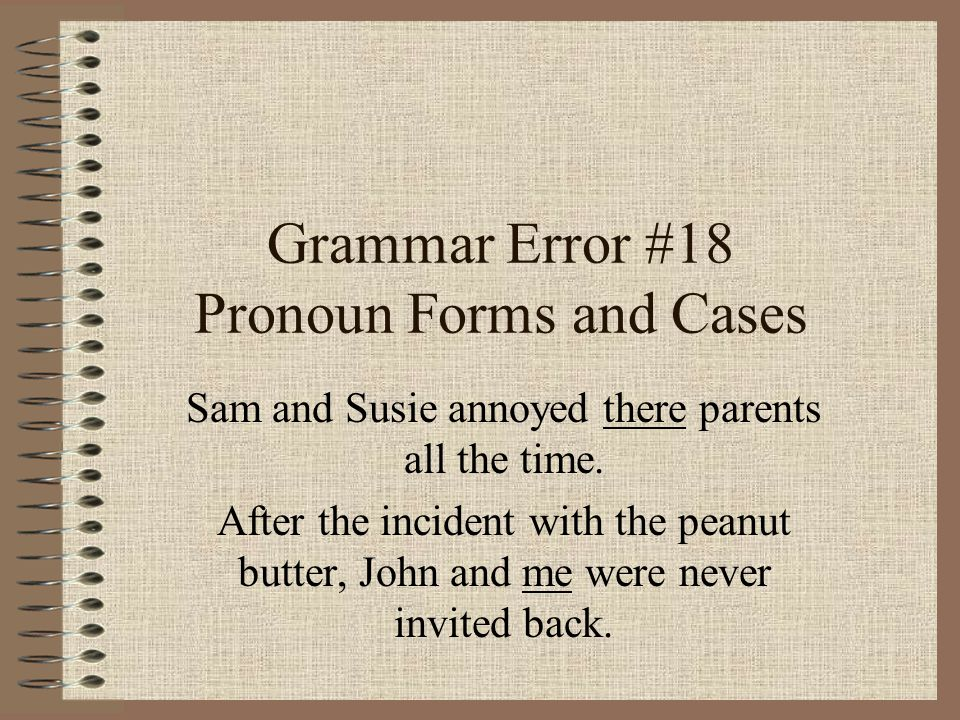 Grammar Error #18 Pronoun Forms and Cases Sam and Susie annoyed there parents all the time.
