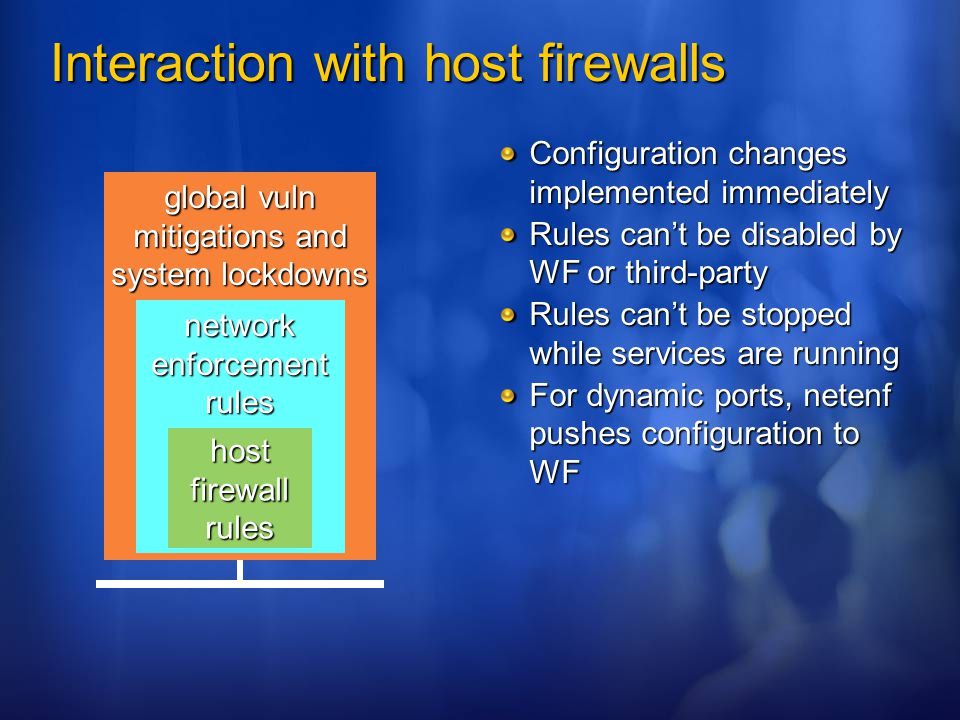global vuln mitigations and system lockdowns network enforcement rules Interaction with host firewalls Configuration changes implemented immediately R