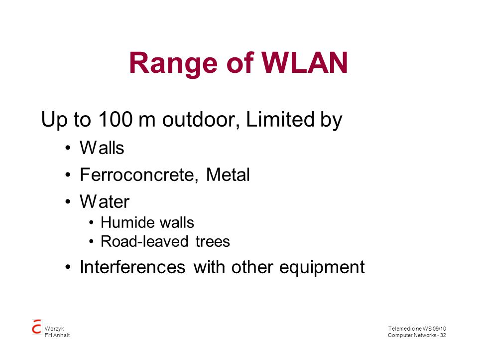 Telemedicine WS 09/10 Computer Networks - 32 Worzyk FH Anhalt Range of WLAN Up to 100 m outdoor, Limited by Walls Ferroconcrete, Metal Water Humide wa