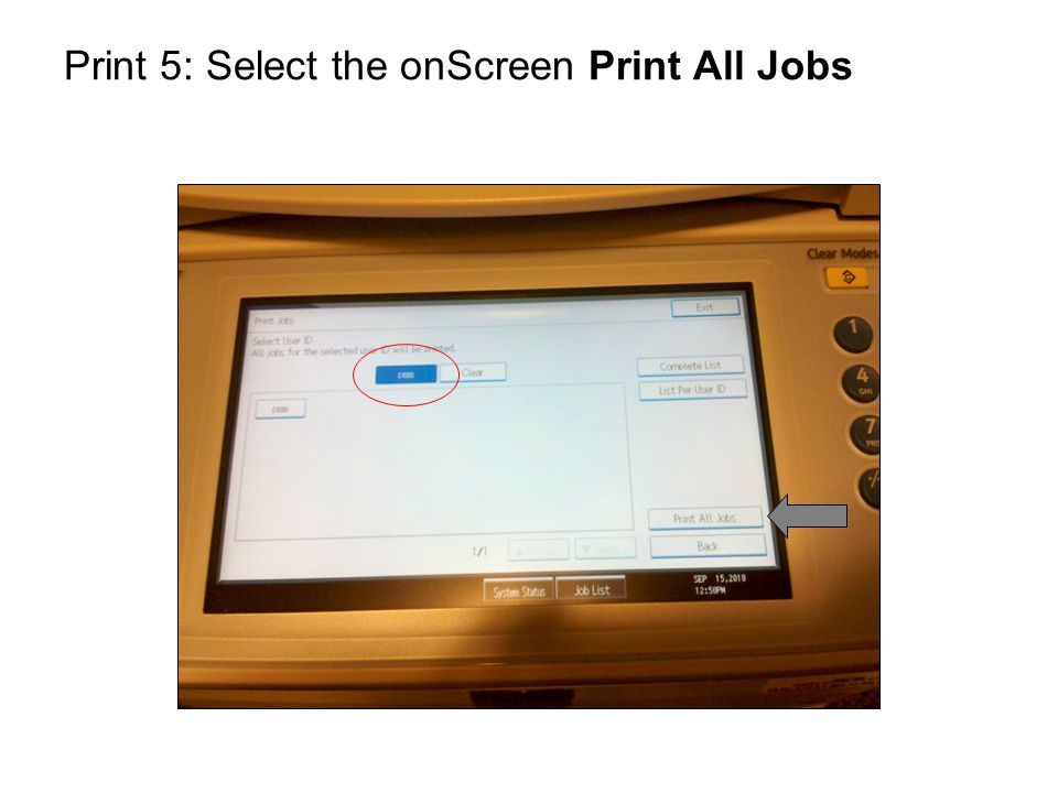 Print 6: Use the numeric keypad to enter your password This is the password you set in the Details box earlier.