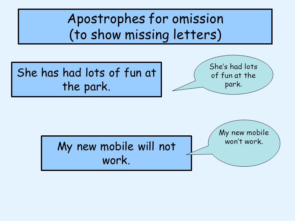 Apostrophes for omission (to show missing letters) Insert an apostrophe to show a letter or letters, have been taken away.