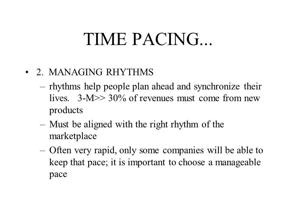 TIME PACING...2. MANAGING RHYTHMS –rhythms help people plan ahead and synchronize their lives.