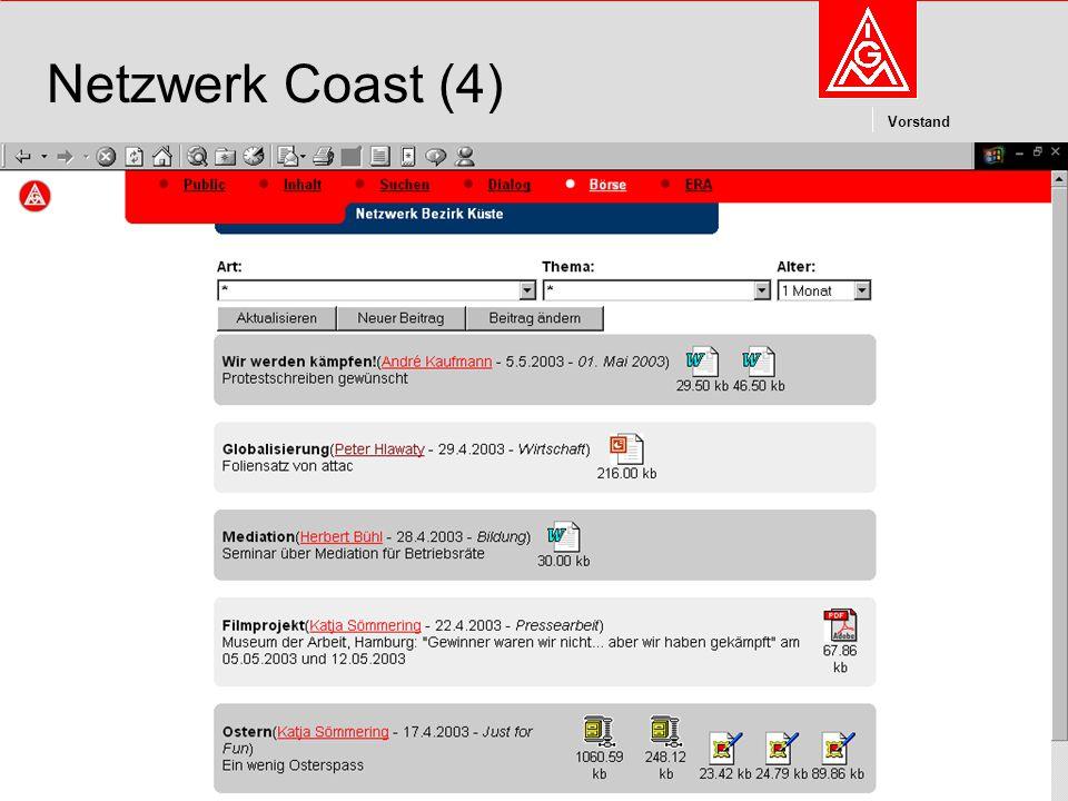 Kommunikation und Kooperation im Internetdieter.wesp@igmetall.deMai 2003dieter.wesp@igmetall.de 10 Vorstand 10 Netzwerk Coast (4)