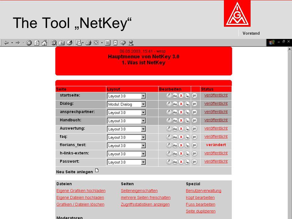 "Kommunikation und Kooperation im Internetdieter.wesp@igmetall.deMai 2003dieter.wesp@igmetall.de 14 Vorstand 14 The Tool ""NetKey"