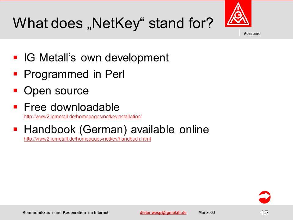 "Kommunikation und Kooperation im Internetdieter.wesp@igmetall.deMai 2003dieter.wesp@igmetall.de 15 Vorstand 15 What does ""NetKey stand for."