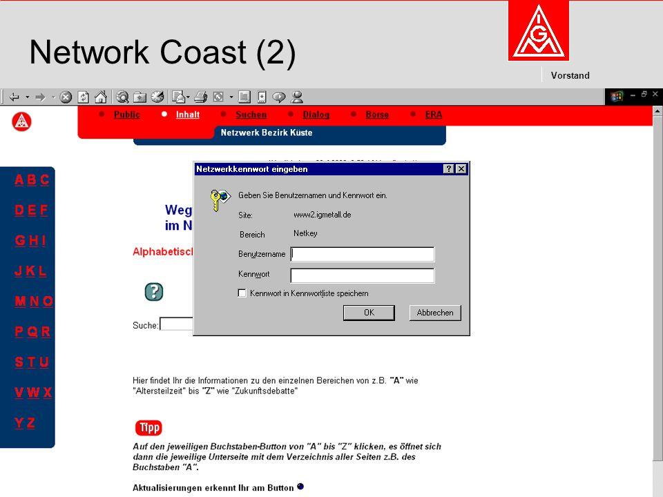 Kommunikation und Kooperation im Internetdieter.wesp@igmetall.deMai 2003dieter.wesp@igmetall.de 8 Vorstand 8 Network Coast (2)