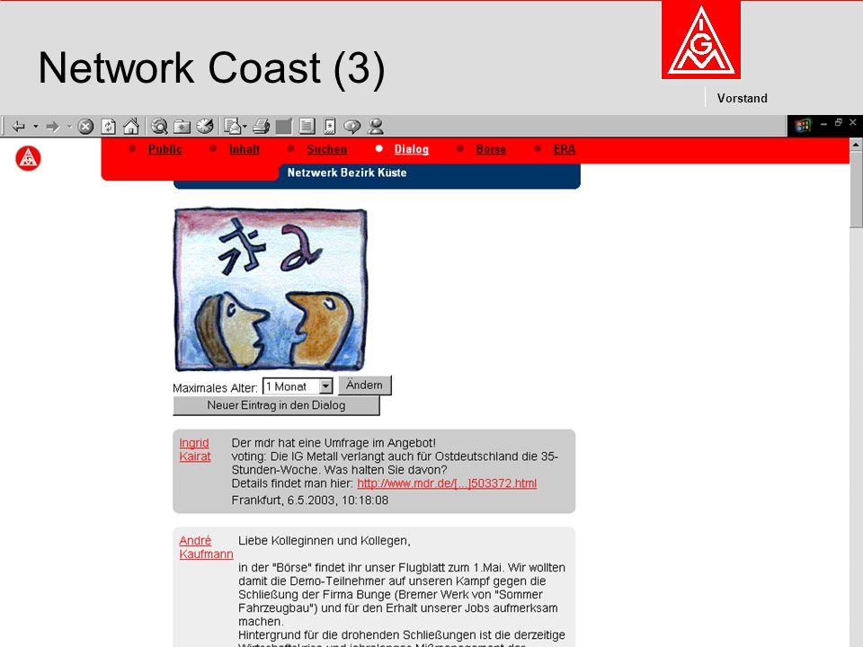 Kommunikation und Kooperation im Internetdieter.wesp@igmetall.deMai 2003dieter.wesp@igmetall.de 9 Vorstand 9 Network Coast (3)