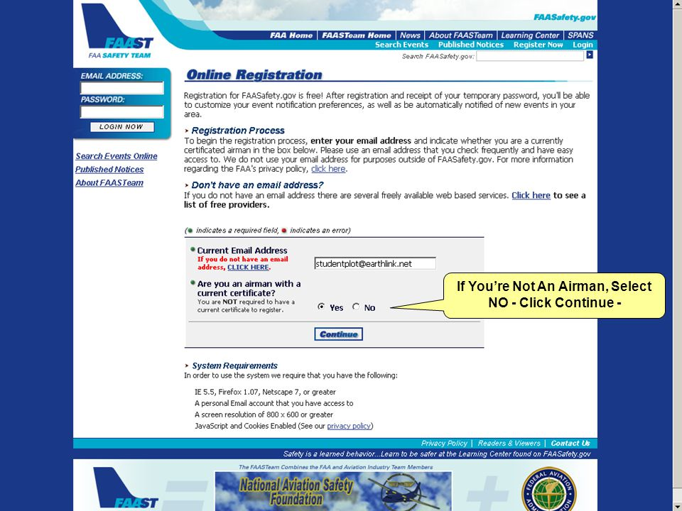 If You're Not An Airman, Select NO - Click Continue -