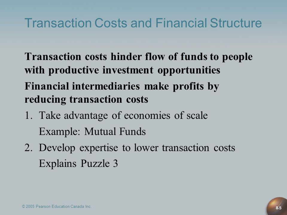 © 2005 Pearson Education Canada Inc. 8-5 Transaction Costs and Financial Structure Transaction costs hinder flow of funds to people with productive in