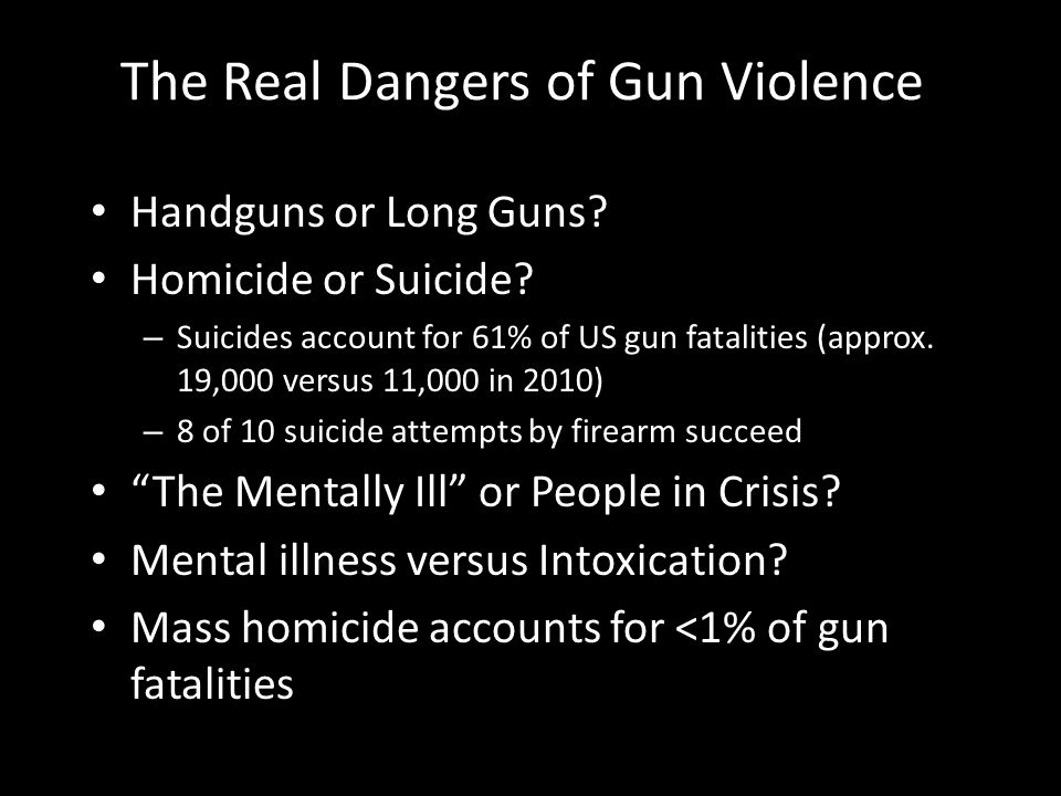 The Real Dangers of Gun Violence Handguns or Long Guns.