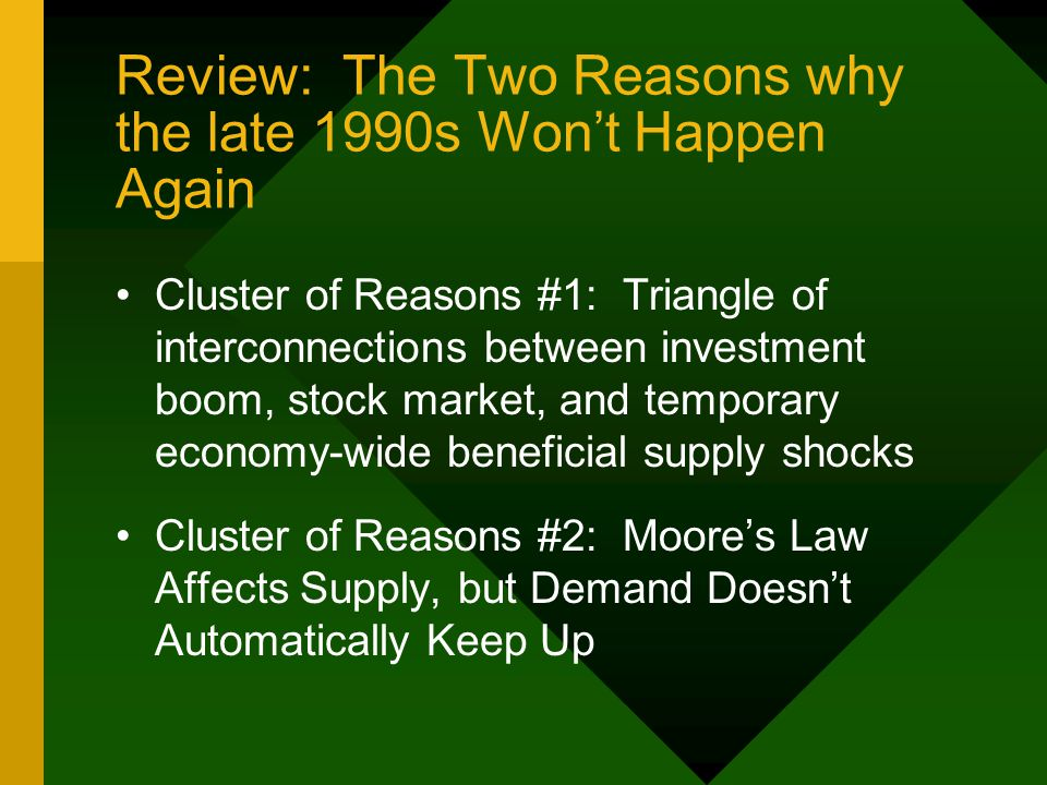 Review: The Two Reasons why the late 1990s Won't Happen Again Cluster of Reasons #1: Triangle of interconnections between investment boom, stock market, and temporary economy-wide beneficial supply shocks Cluster of Reasons #2: Moore's Law Affects Supply, but Demand Doesn't Automatically Keep Up