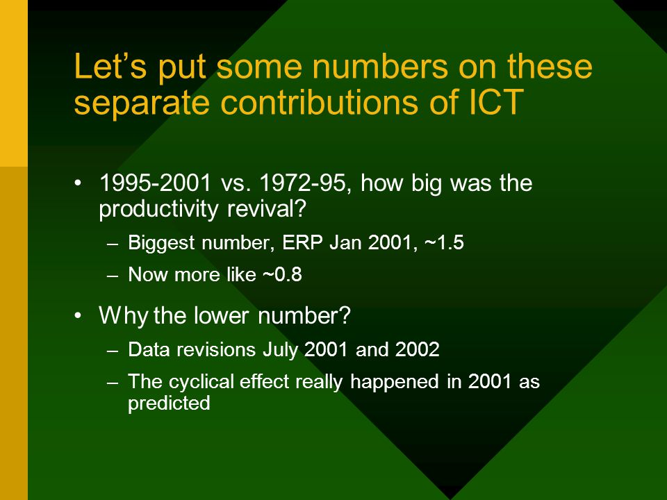 Let's put some numbers on these separate contributions of ICT 1995-2001 vs.