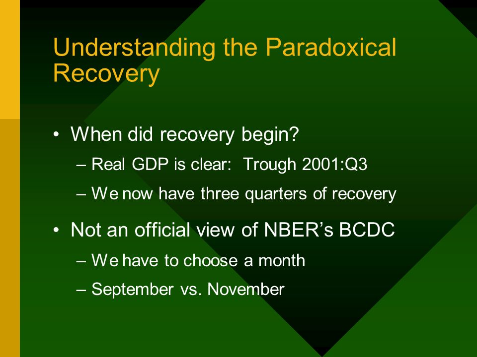 Understanding the Paradoxical Recovery When did recovery begin.