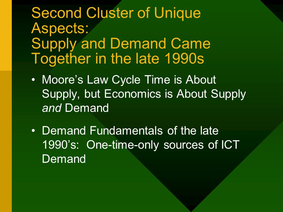 Second Cluster of Unique Aspects: Supply and Demand Came Together in the late 1990s Moore's Law Cycle Time is About Supply, but Economics is About Supply and Demand Demand Fundamentals of the late 1990's: One-time-only sources of ICT Demand