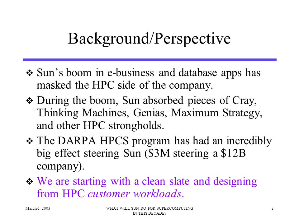 March 6, 200314WHAT WILL SUN DO FOR SUPERCOMPUTING IN THIS DECADE.