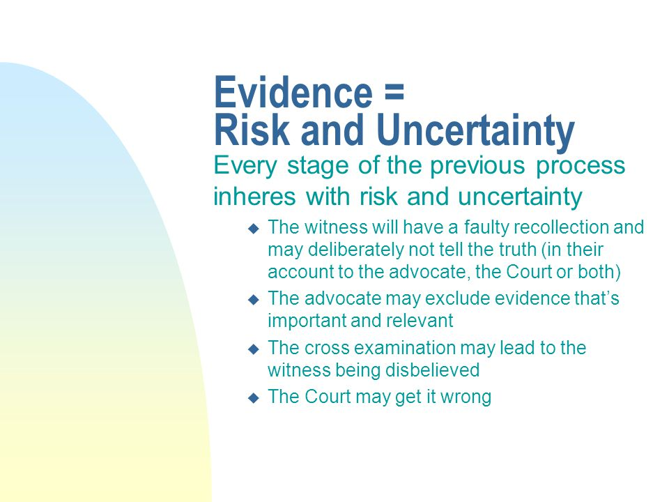 Other matters n Tendency and coincidence evidence (part 3.6) n Privilege n The discretion to exclude evidence (Part 3.11) n The rules regarding reviving memory (ss.32 and 34)