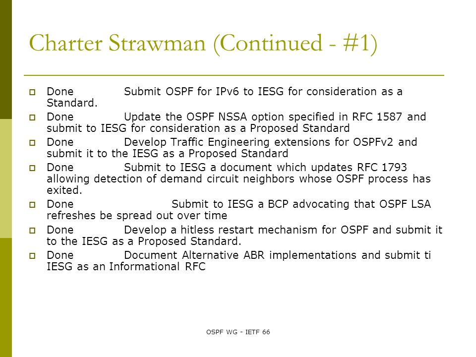 OSPF WG - IETF 66 Charter Strawman (Continued - #1)  Done Submit OSPF for IPv6 to IESG for consideration as a Standard.