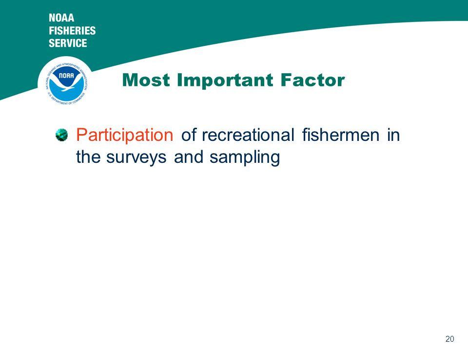 20 Most Important Factor Participation of recreational fishermen in the surveys and sampling