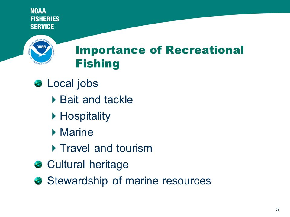 5 Importance of Recreational Fishing Local jobs Bait and tackle Hospitality Marine Travel and tourism Cultural heritage Stewardship of marine resources