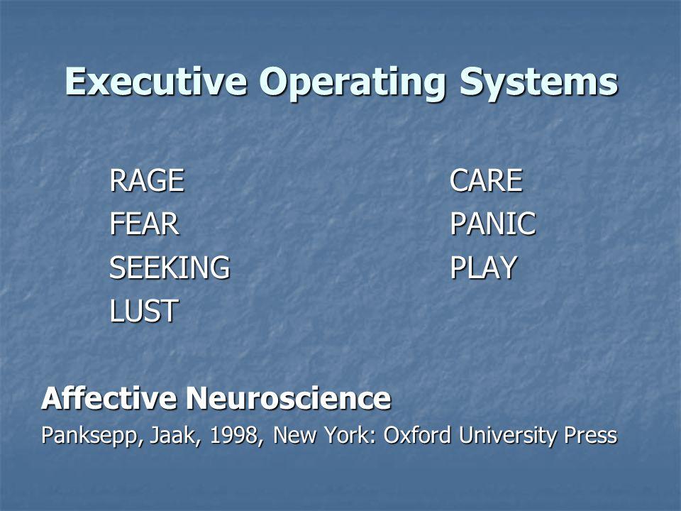 Executive Operating Systems RAGECARE FEARPANIC SEEKINGPLAY LUST Affective Neuroscience Panksepp, Jaak, 1998, New York: Oxford University Press