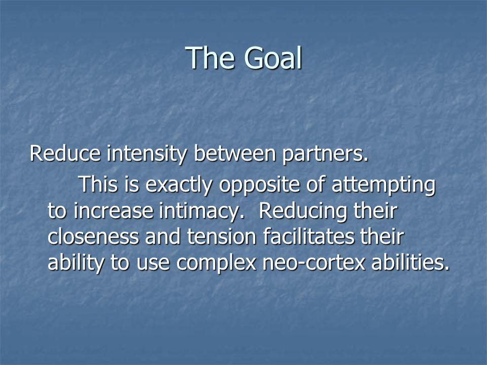 The Goal Reduce intensity between partners.