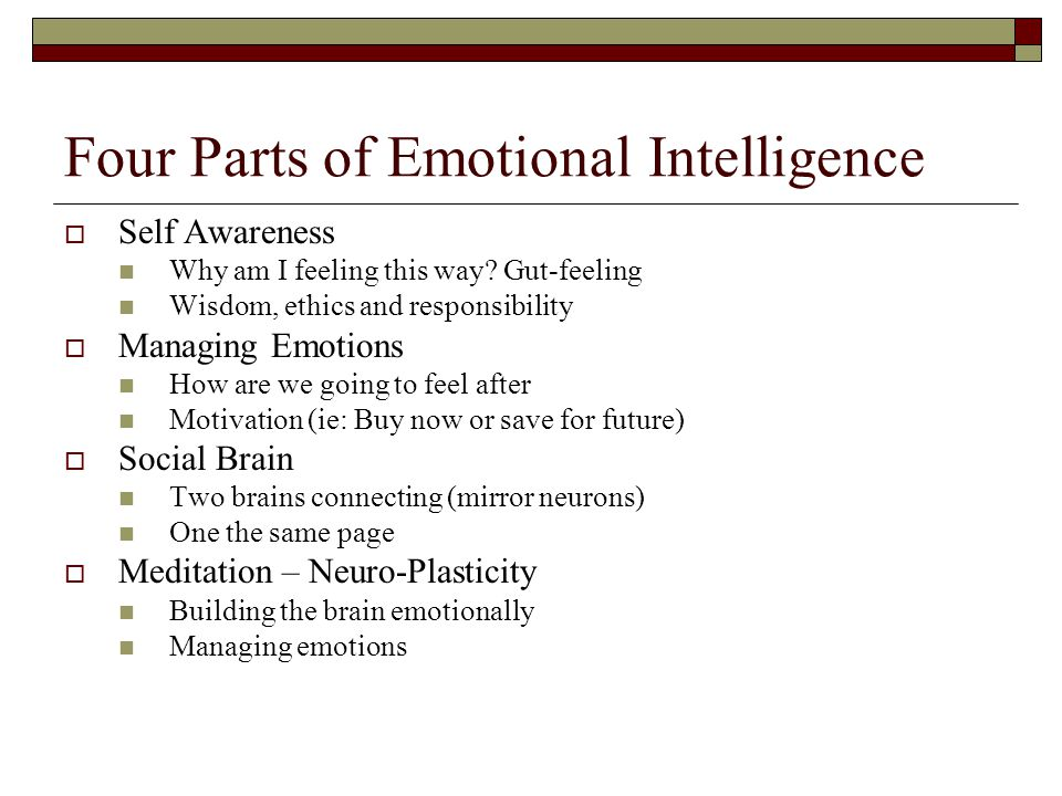 Four Parts of Emotional Intelligence  Self Awareness Why am I feeling this way.