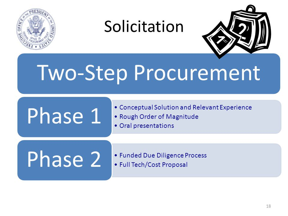 Solicitation 18 Two-Step Procurement Conceptual Solution and Relevant Experience Rough Order of Magnitude Oral presentations Phase 1 Funded Due Diligence Process Full Tech/Cost Proposal Phase 2