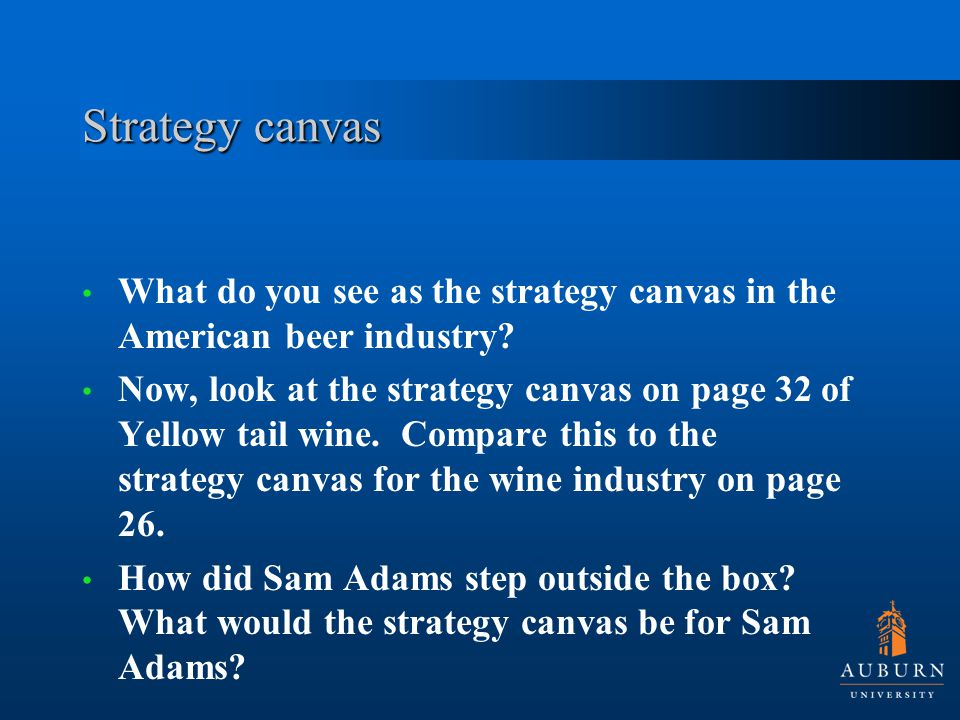 Strategy canvas What do you see as the strategy canvas in the American beer industry.