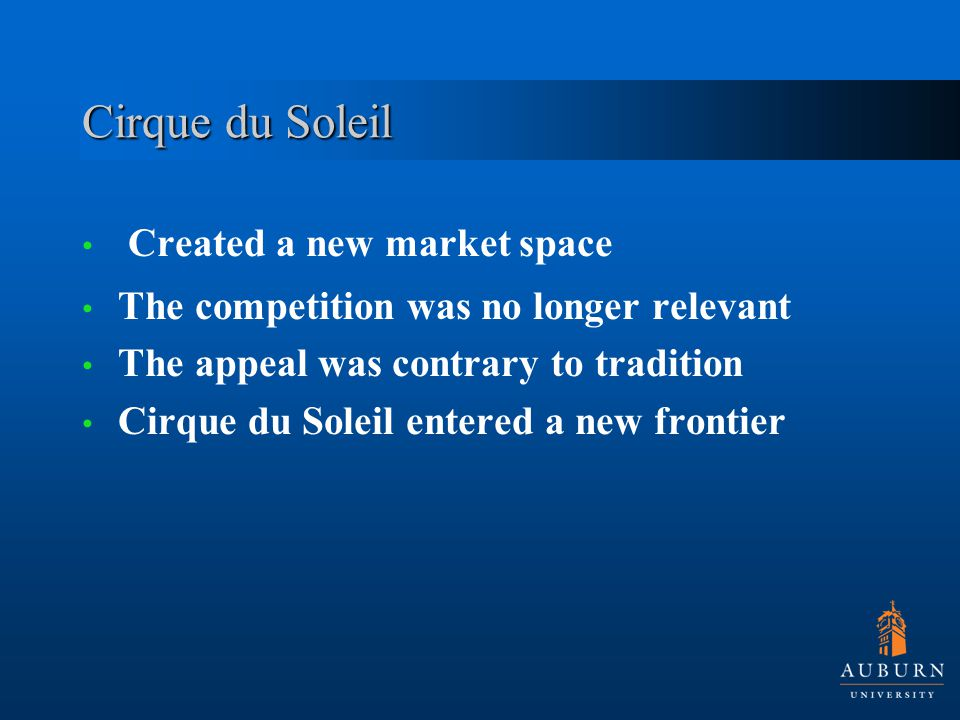 Cirque du Soleil Created a new market space The competition was no longer relevant The appeal was contrary to tradition Cirque du Soleil entered a new frontier