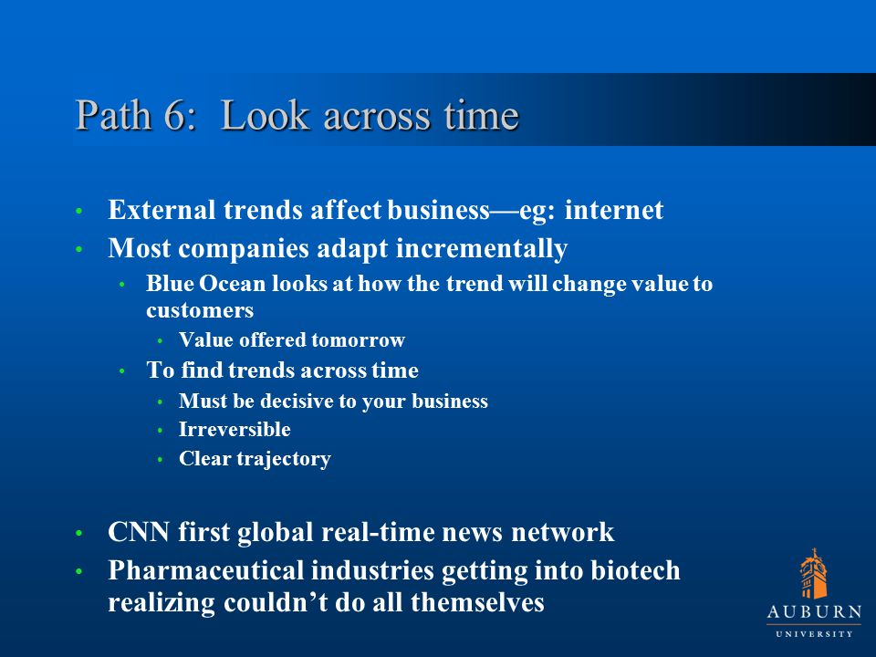 Path 6: Look across time External trends affect business—eg: internet Most companies adapt incrementally Blue Ocean looks at how the trend will change value to customers Value offered tomorrow To find trends across time Must be decisive to your business Irreversible Clear trajectory CNN first global real-time news network Pharmaceutical industries getting into biotech realizing couldn't do all themselves