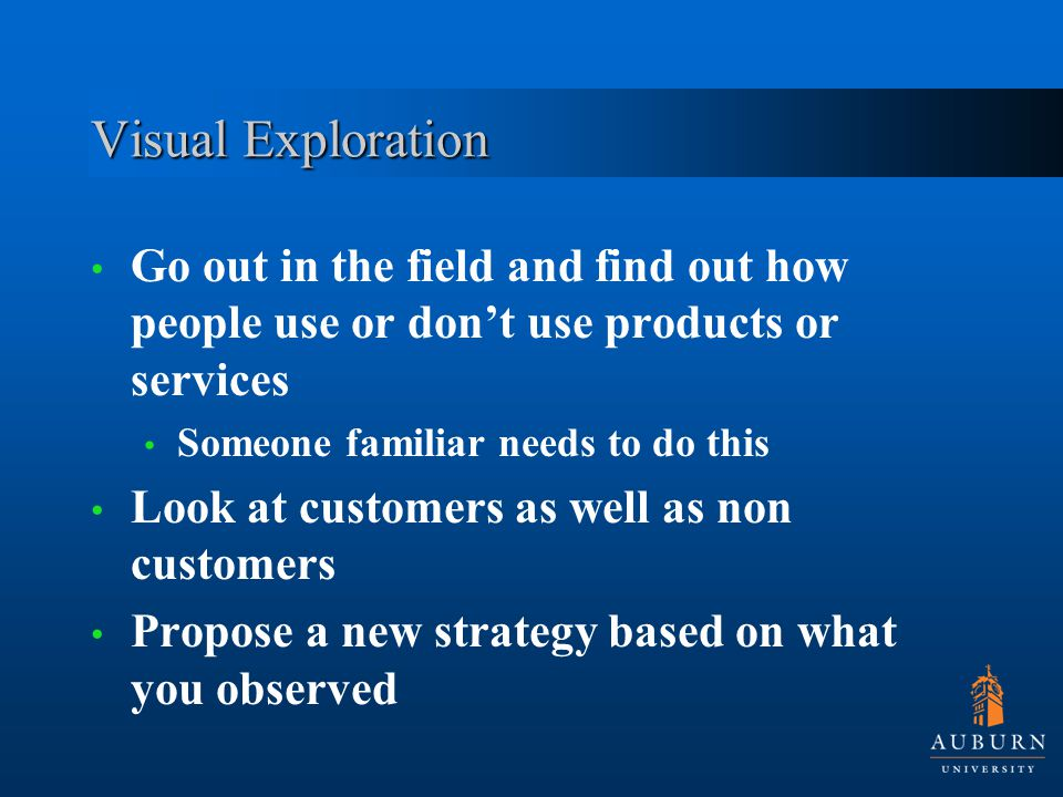 Visual Exploration Go out in the field and find out how people use or don't use products or services Someone familiar needs to do this Look at customers as well as non customers Propose a new strategy based on what you observed