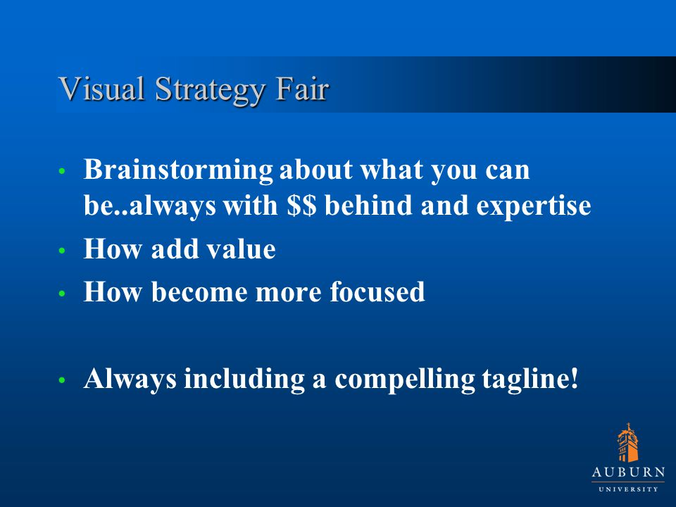 Visual Strategy Fair Brainstorming about what you can be..always with $$ behind and expertise How add value How become more focused Always including a compelling tagline!