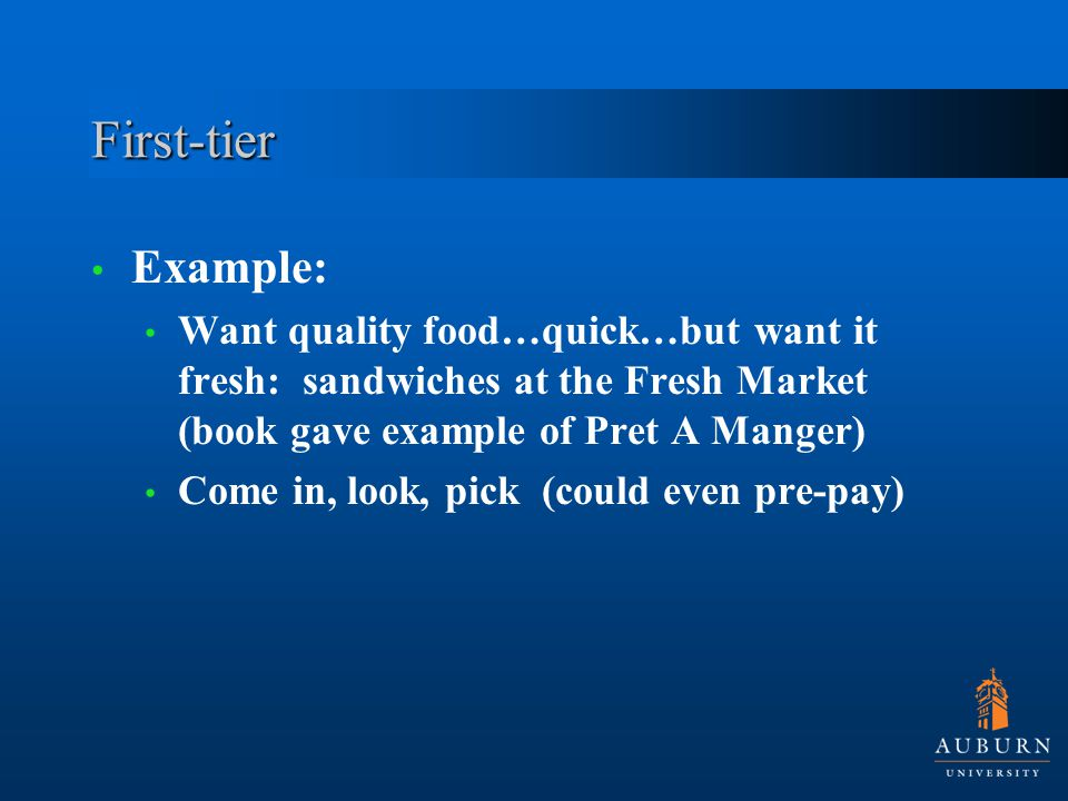 First-tier Example: Want quality food…quick…but want it fresh: sandwiches at the Fresh Market (book gave example of Pret A Manger) Come in, look, pick (could even pre-pay)