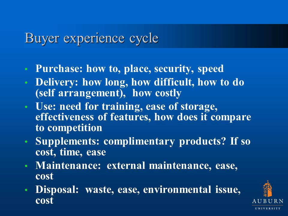 Buyer experience cycle Purchase: how to, place, security, speed Delivery: how long, how difficult, how to do (self arrangement), how costly Use: need for training, ease of storage, effectiveness of features, how does it compare to competition Supplements: complimentary products.