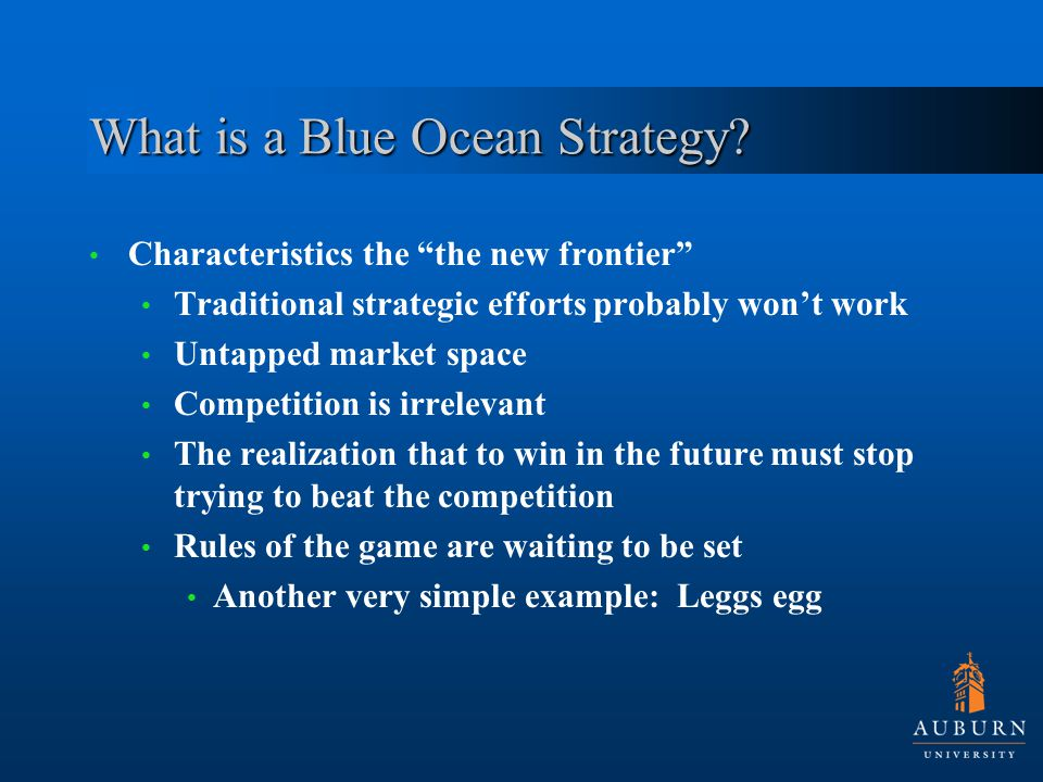 Analytical tools Traditional strategy uses five forces and generic strategies Comfort in tools Blue ocean suggests entrepreneurial behavior and risk reduction