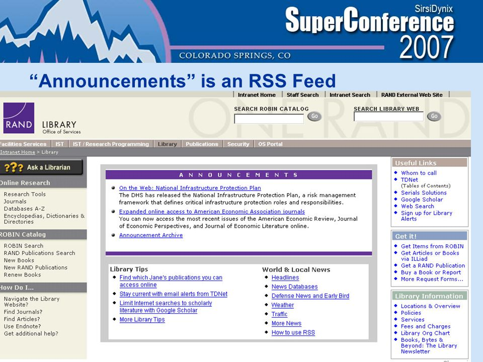 Announcements is an RSS Feed