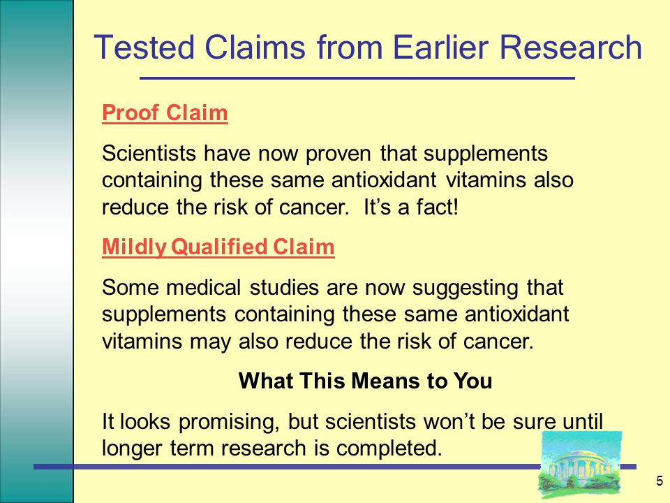 5 Tested Claims from Earlier Research Proof Claim Scientists have now proven that supplements containing these same antioxidant vitamins also reduce the risk of cancer.