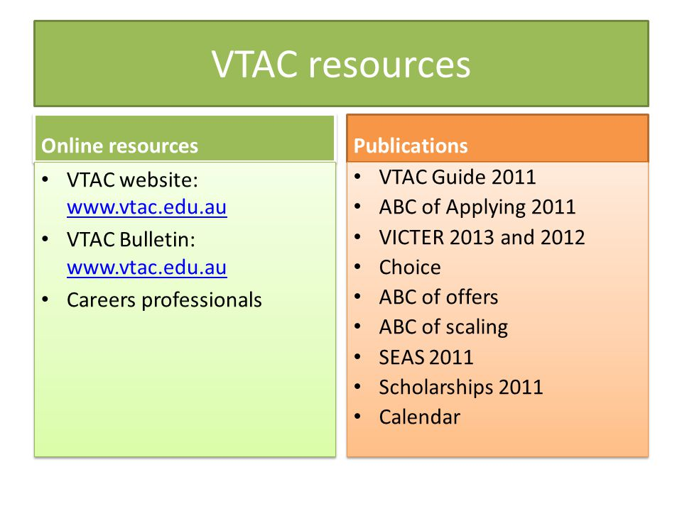 VTAC resources Online resources VTAC website: www.vtac.edu.au www.vtac.edu.au VTAC Bulletin: www.vtac.edu.au www.vtac.edu.au Careers professionals VTAC website: www.vtac.edu.au www.vtac.edu.au VTAC Bulletin: www.vtac.edu.au www.vtac.edu.au Careers professionals Publications VTAC Guide 2011 ABC of Applying 2011 VICTER 2013 and 2012 Choice ABC of offers ABC of scaling SEAS 2011 Scholarships 2011 Calendar VTAC Guide 2011 ABC of Applying 2011 VICTER 2013 and 2012 Choice ABC of offers ABC of scaling SEAS 2011 Scholarships 2011 Calendar