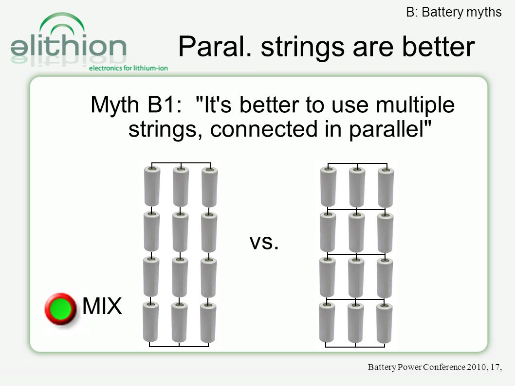 Paral. strings are better Myth B1: