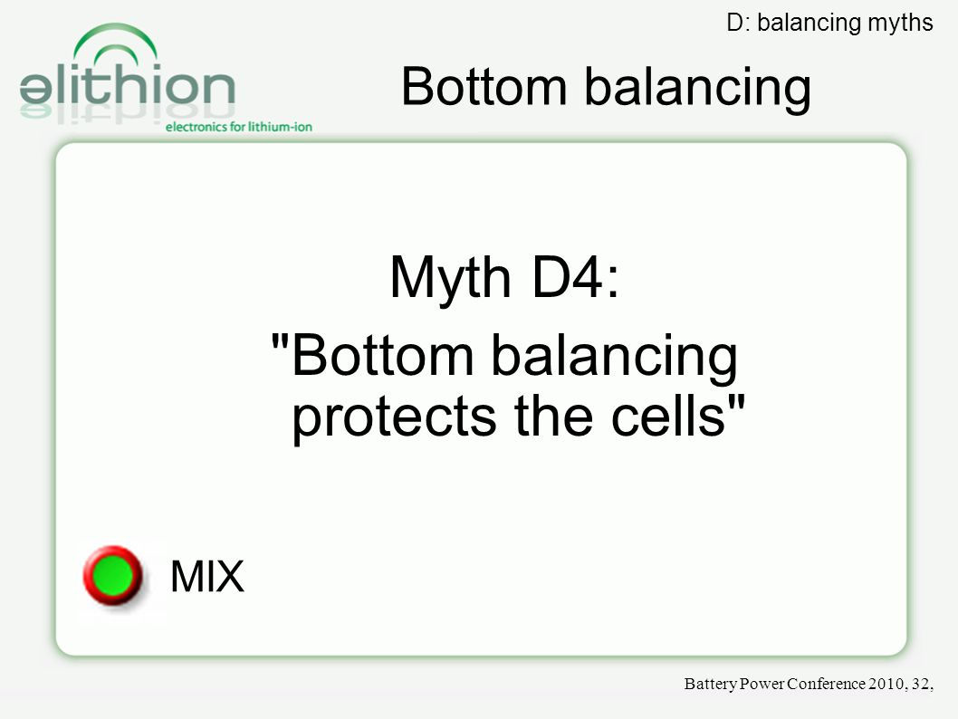 Bottom balancing Myth D4:
