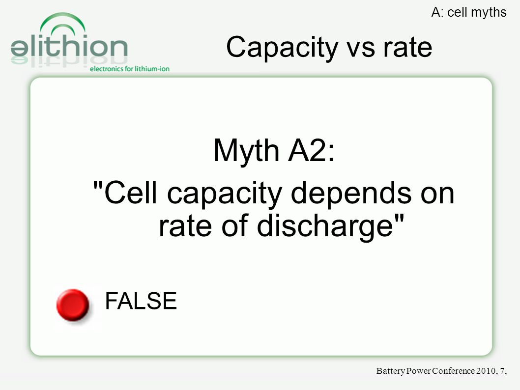 Capacity vs rate Myth A2: Cell capacity depends on rate of discharge FALSE Battery Power Conference 2010, 7, A: cell myths