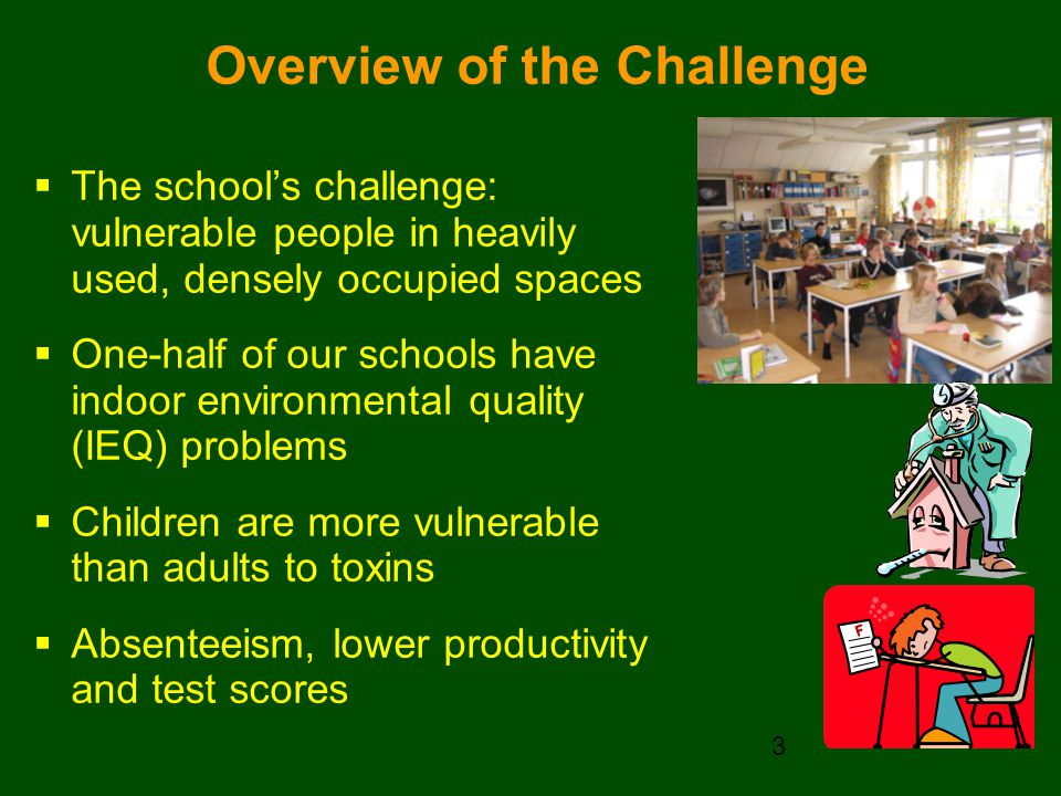 Overview of the Challenge  The school's challenge: vulnerable people in heavily used, densely occupied spaces  One-half of our schools have indoor environmental quality (IEQ) problems  Children are more vulnerable than adults to toxins  Absenteeism, lower productivity and test scores 3