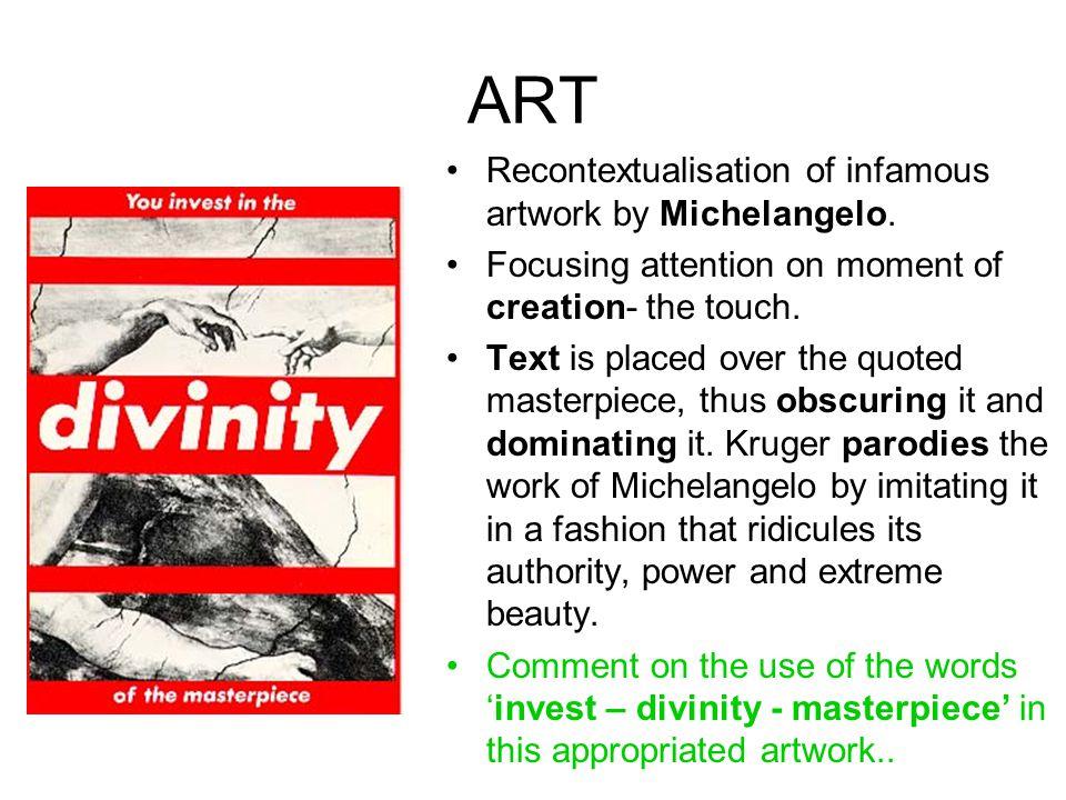 ART Recontextualisation of infamous artwork by Michelangelo.