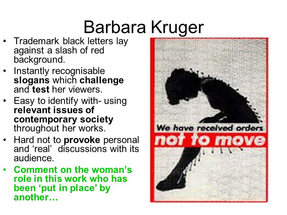 Barbara Kruger Trademark black letters lay against a slash of red background.