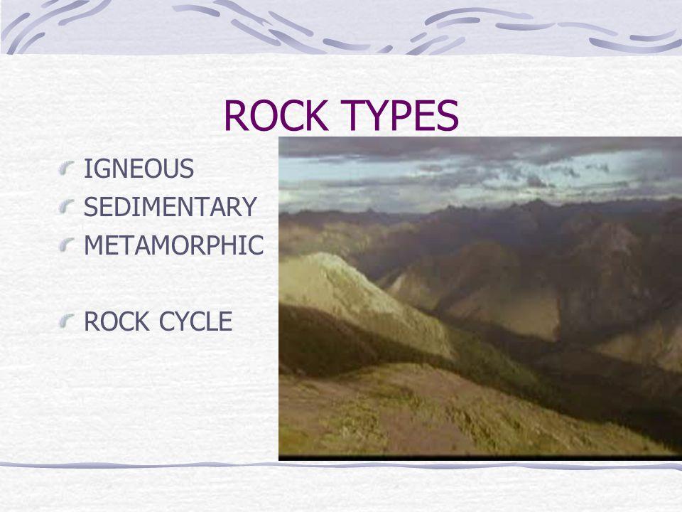 ROCK TYPES IGNEOUS SEDIMENTARY METAMORPHIC ROCK CYCLE