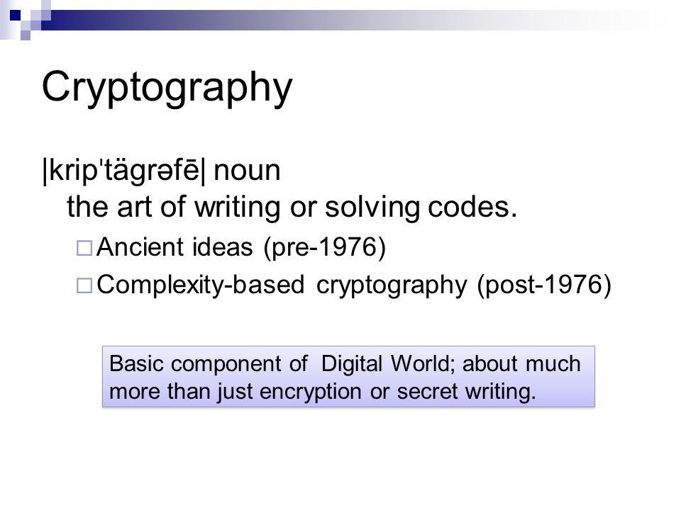 Cryptography |krip ˈ tägrəfē| noun the art of writing or solving codes.