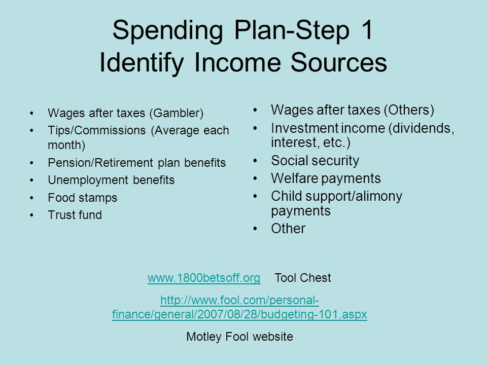 Creating a Realistic Spending Plan Write out a plan List monthly sources of income List extra sources of income List basic monthly household expenses