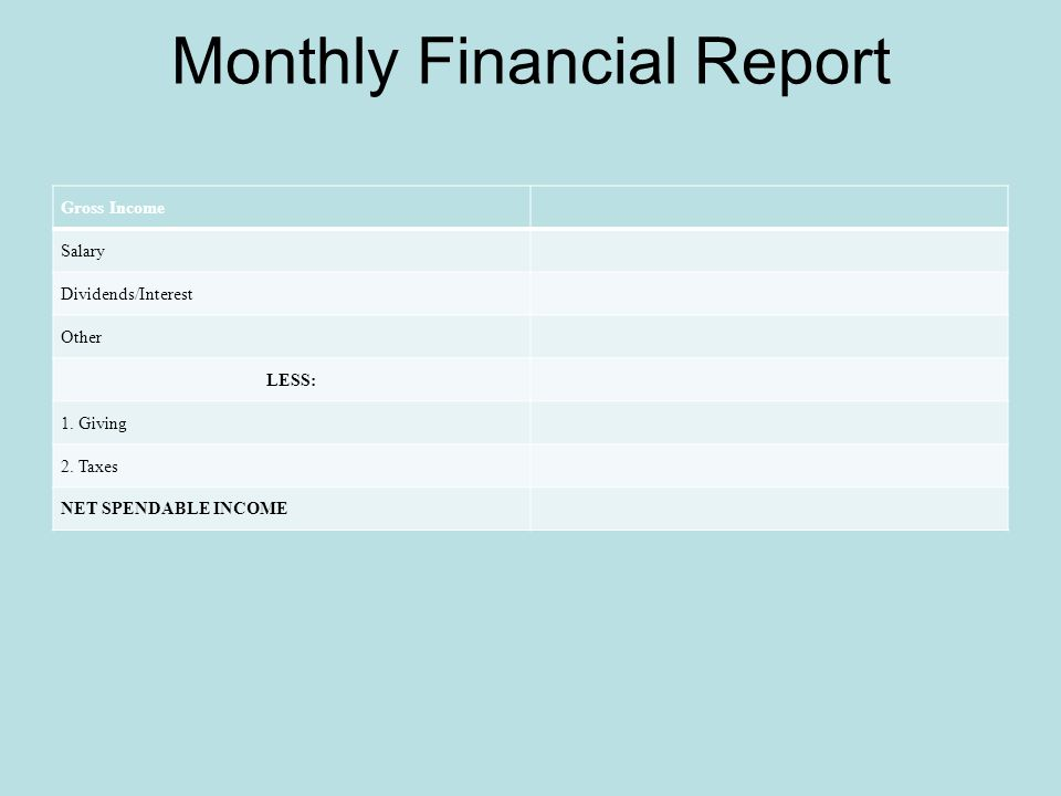 Monthly Financial Report Gross Income Salary Dividends/Interest Other LESS: 1.