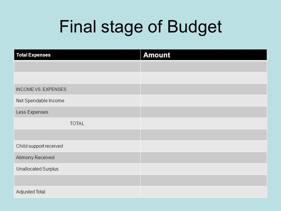 Budget Creation Continued 15. Gifts Amount Monetary Donations Christmas/Holidays Birthdays/Anniversaries Cards Other: