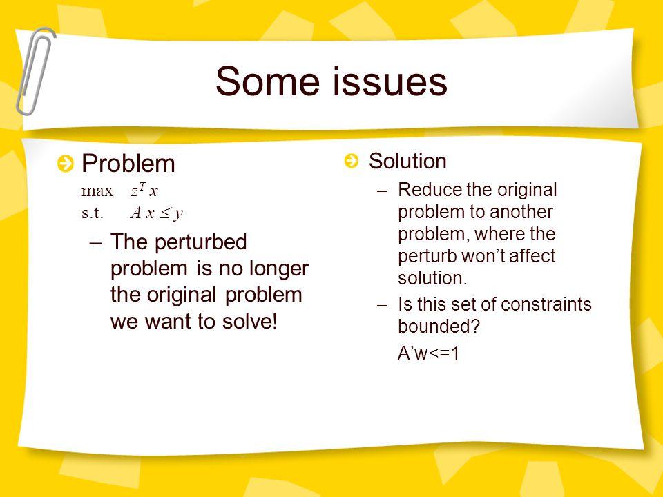 Some issues Problem max z T x s.t. A x  y –The perturbed problem is no longer the original problem we want to solve! Solution –Reduce the original pr
